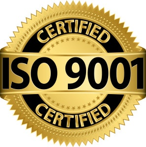 ISO 9001 certified golden label, vector illustration
